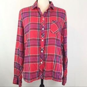 American Eagle Red, Pink & Black Button Up Flannel